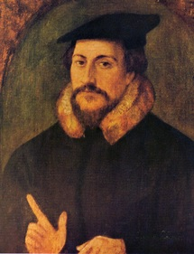 「大丈夫、カルヴァンの宗教本だよ!」って表情のカルヴァン(wikiより)