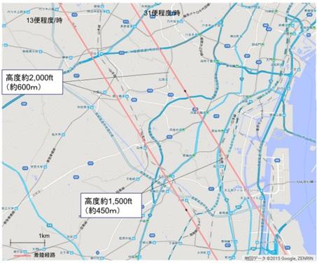 飛行ルート地図