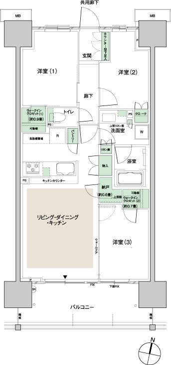寝室の音を気にする場合の間取り・設備仕様について(スムログ)住井はな 田の字プラン