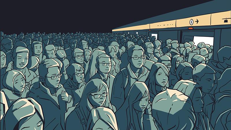 3.11当日は、電車も一斉に止まって大混雑でした(イメージ)