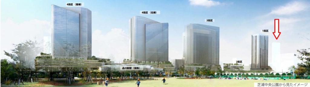 芝浦中央公園から見たイメージ(出典)JR東日本